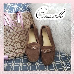 Coach loafers flats slip ons leather 9 gold